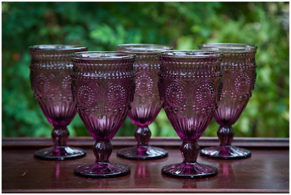 Dallas Water Company >> Rosey Plum Pressed Glass Goblets $2.10
