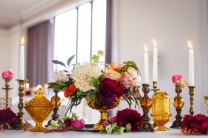 amber gold centerpieces