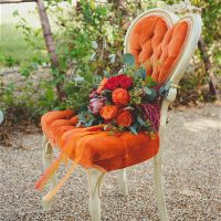 Tangerine heart Chair Dixie Does Vintage