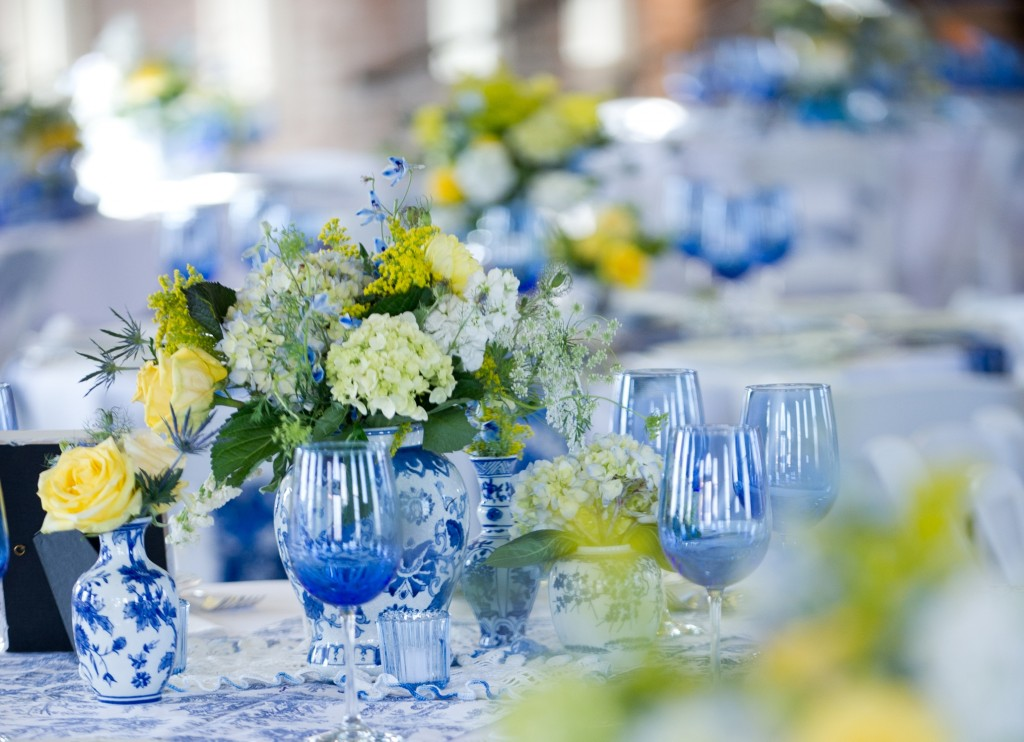 Modern Vintage Blue and White Wedding