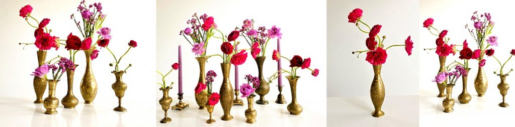 Use brass vintage bud vases for your wedding reception floral centerpieces