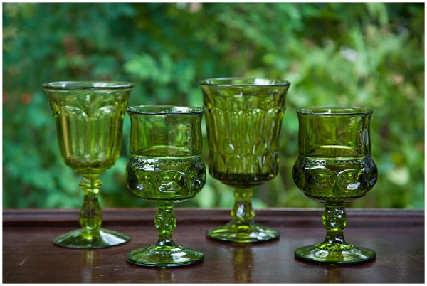 Vintage Green Colored Glass Goblets 2 10 Each