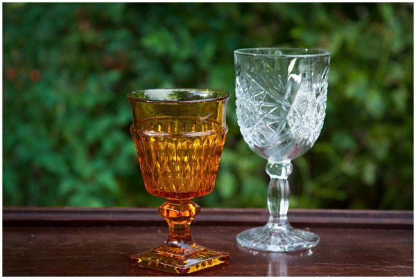 Assorted Vintage Amber Colored Glass Goblets 2 10