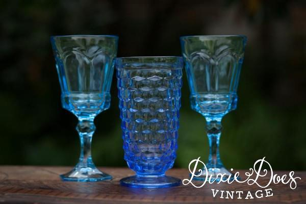 Vintage Blue Colored Glass Goblets 2 10