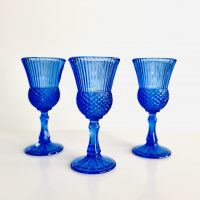 blue glassware rental for weddings and parties